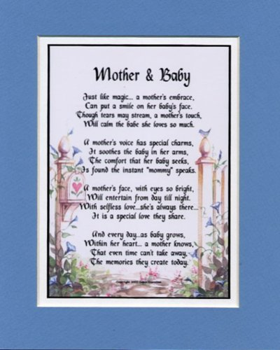 """Mother & Baby"" Touching 8x10 Poem, Double-matted in Blue Over White, And Enhanced With Watercolor Graphics. A Gift For A New Mother."