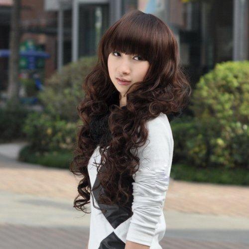 ACE Lady Sweet Girl Vogue Stylish Fluffy Dark Brown Curly Wavy Long Hair Full Wig