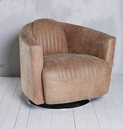 "Clubsessel Drehsessel ""Tino"" hellbraun Echtleder Ledersessel Vintage Lounge Sessel"