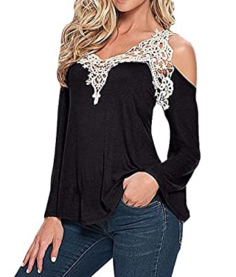 Womens Sexy Crochet Bell Sleeve Cold Shoulder Top Blouse Black at