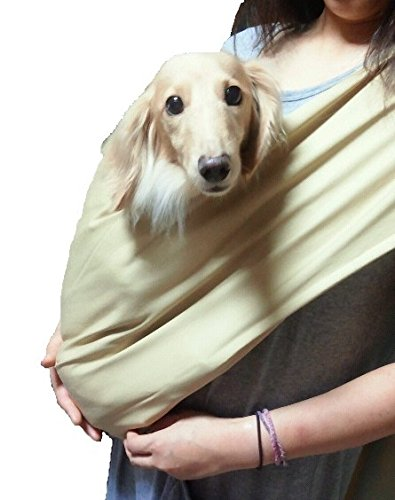 Foldable Pet Dog Cat Carrier Sling Bag with Safety Leash (Beige, L)