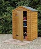 4' x 3' Wooden Garden Shed Single Door Apex Roof Overlap Wood 10 Year Anti-Rot Guarantee