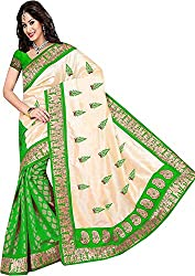 Trishulom Cloth's Online Women's Silk Sarees With Blouse Piece (Green)
