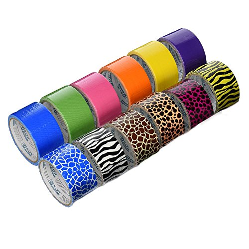 18-Roll-Variety-Pack-of-Bazic-Print-and-Solid-Colors-brights-and-regular-colors-of-All-Purpose-Duct-Tape-Brights-Include-green-blue-orange-purplepink-and-yellow-Regular-colors-include-brown-white-blac