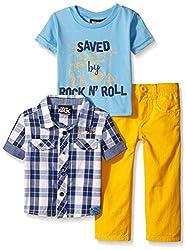 Boys Rock Baby 3 Pc Pant Set Rock N' Roll, Yellow, 24 Months