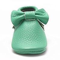 Sayoyo Baby Light Green Bow Tassels Soft Sole Leather Infant Toddler Prewalker Shoes by Bai Shu