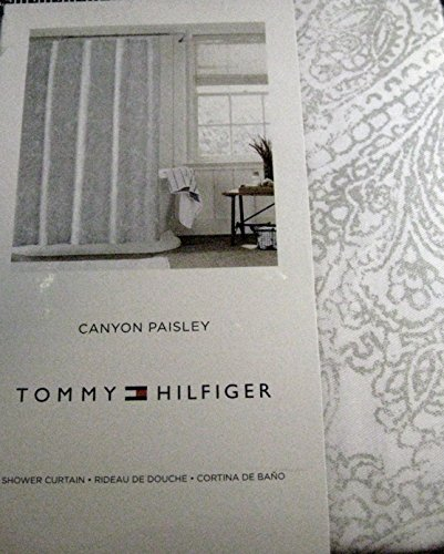 Tommy Hilfiger Canyon Paisley Shower Curtain - Silver Gray on White ...