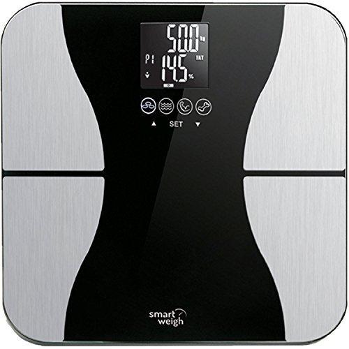 Smart Weigh SBS500 - Bilancia pesapersone di precisione, digitale, con superficie in vetro, funzione di riconoscimento fino a 8 utenti, capacità: 200 kg, misura peso, massa grassa, liquidi, massa magra e massa ossea