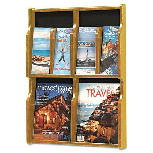 SAFCO PRODUCTS 5704MO Expose Adj Magazine/Pamphlet Four Pocket Display, 20w x 26-1/4h, Medium Oak kitcox01761easaf3274bl value kit safco one drawer hospitality organizer saf3274bl and clorox disinfecting wipes cox01761ea