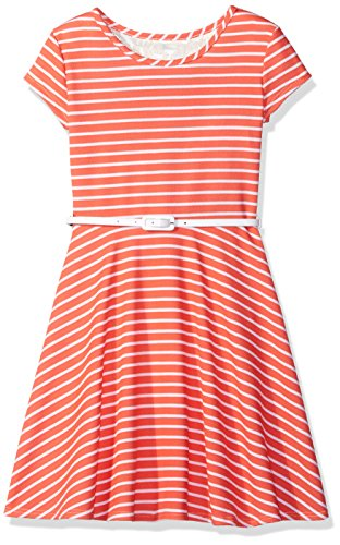 BTween Big Girls Short Sleeve Striped Dress with Lace Back Insert and Belt, Coral/White, 12