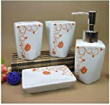 European-style Flowerlet Pattern 4 Piece Bath Ensemble ,Ceramic Bathroom Accessory Set with Soap Dish, Lotion Dispenser, Toothbrush Holder & Tumbler (orange flowerlet)