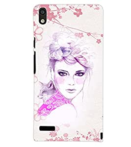 PrintDhaba CUTE GIRL D-7053 Back Case Cover for HUAWEI ASCEND P6 (Multi-Coloured)