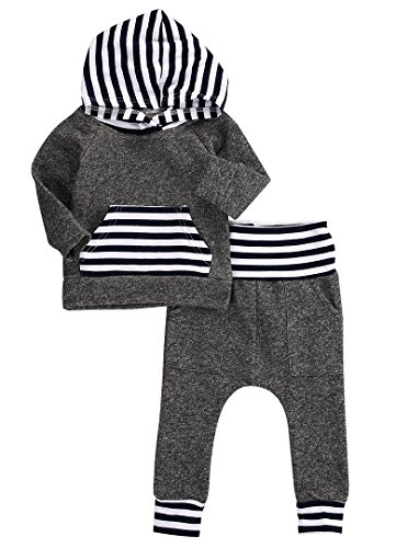 Newborn Baby Boy Girl Warm Hoodie T-shirt Top + Pants Outfits Set Kids Clothes (6-12 Months, Gray)