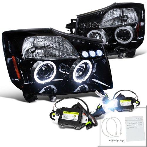 Glossy Black Nissan Titan Armada Smoke Led Projector Headlights+H1 6000K Hid Kit