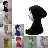 HuntGold 1X Women Islamic Turban Head Wear Cotton Neck Chest Cover Bonnet Hijab Under Scarf(black)