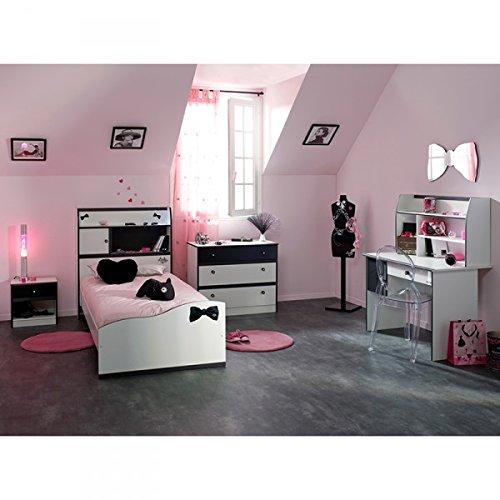 Kinderzimmer-Adelmus-4-teilig-inkl-Bett-mit-berbau-Nako-Schreibtisch-Kommode-schwarz-wei-Jugendzimmer