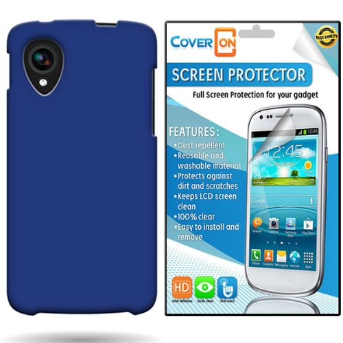 Coveron® Lg Google Nexus 5 Hard Rubberized Slim Case Cover Bundle With Clear Anti-Glare Lcd Screen Protector - Blue