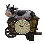 Black/White Dairy Cow in Wheelbarrow Tabletop Clock