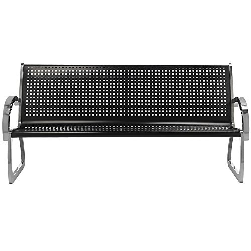 Commercial Zone 725101 Skyline Series 6' Black and Stainless Steel Indoor / Outdoor Bench (Skyline Outdoor Furniture compare prices)