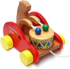 Flyshine Kids Child InfantToddler Wooden Toy Colorful Wooden Bear Playing the Drum Design Pull Toy F