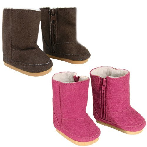 18 Inch Doll Boots 2 Pair Set, Our Faux Suede Ewe Boots will Fit American Girl Dolls & More! Doll Shoe Set of 1 Pair Hot Pink, 1 Pair Brown Doll Items, Perfect for Doll Clothes for 18 Inch Dolls!