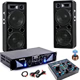 3000W PA Party Musik Anlage Boxen MP3 USB SD Endstufe Mixer DJ-Blue 3
