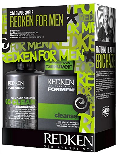 Redken For Men Style Kit - Go Clean Shampoo, Maneuver Working Wax and Cleanse Bar (Redken Mens Bar compare prices)