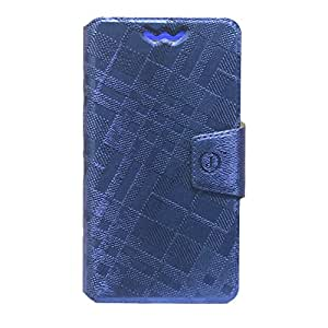 Jo Jo Cover Krish Series Leather Pouch Flip Case With Silicon Holder For Philips S308 Dark Blue