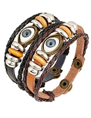 [Valentine's Gift 1 Pair His & Hers Matching Set Evil Eye Leather Wrap Bracelets] (Matching His And Her Costumes)
