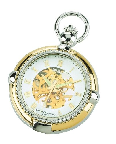 Charles-hubert, Paris Charles Hubert 3846 Two-tone Mechanical Picture Frame Pocket Watch