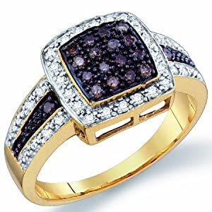 Chocolate Brown Diamond Ring Anniversary Cocktail Yellow Gold (1/2 ct.tw.), size 8