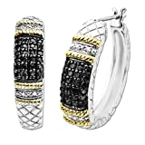 Sterling Silver and 14k Gold Textured Black and White Diamond Hoops