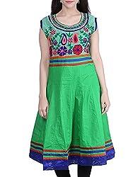 BleuIndus Women's Cotton Kurta (KRT-304_L, Green, L)
