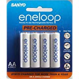 Sanyo Eneloop AA NiMH Pre-Charged Rechargeable Batteries - 4 Pack ~ Sanyo
