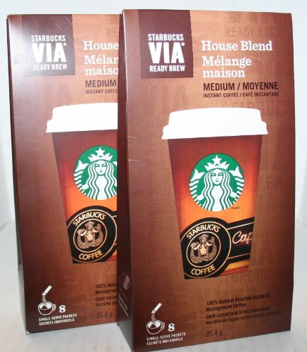 Starbucks VIA House Blend Medium Instant Coffee 8 single-serve Packets (PACK OF 2) (House Blend Via compare prices)