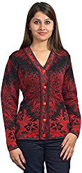 KTC Women's Button Down Cardigan (504-V01, Red)