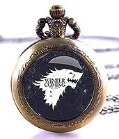 """Reloj de bolsillo de Juego de Tronos con texto """"Winter Is Coming"""", bronce envejecido, cuarzo, en estuche de regalo de Products Just4U"""
