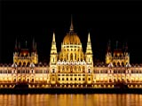 12 X 16 INCH / 30 X 40 CMS PARLIAMENT BUDAPEST HUNGARY ARCHITECTURE YELLOW REFLECTION PRINT POSTER BMP891B