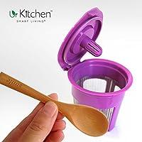 K Cup Reusable & Refillable My K Cup Filters For Keurig 2.0 K-Cups 1.0 Brewer Coffee Machine K200 K250 K300 K350 K400 K450 K500 K550 K560 - Dishwasher Safe - FREE Bamboo Spoon (MONEY BACK GUARANTEE)