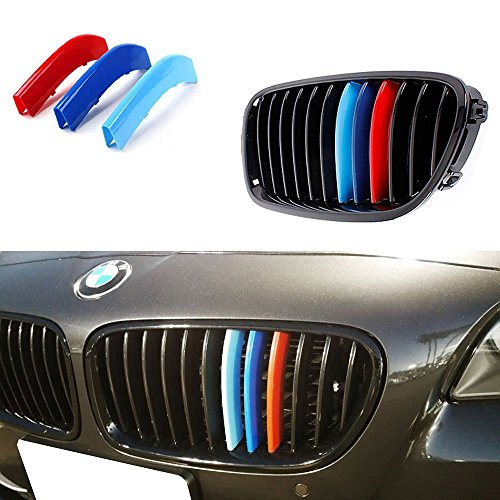 iJDMTOY Exact Fit ///M-Colored Grille Insert Trims For BMW F10 F11 5 Series 528i 535i 550i with M-Performance Black Kidney Grill (12 Beams) (Bmw 5 Series Grill compare prices)