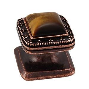 Vicenza Designs K1144 Gioiello  Square  Stone Insert  Style 1  Knob,  Tiger's Eye,  Small,  Antique Copper