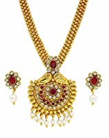Zaveri Pearls Pink Metal Strand Necklace With Drop Earring For Girls