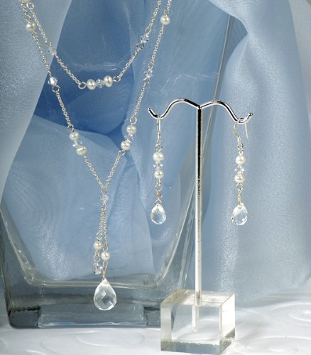 Cathy's Concepts Freshwater Pearl Double Drop Jewelry Set, Ivory