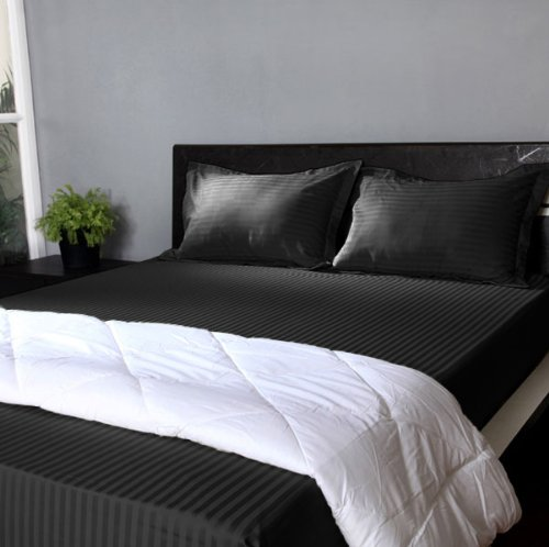 "800 Tc Stripe 1Pc Fitted Sheet + 2 Pillow Cases Black Color California King Size Fits Mattress Upto 21"" Deep front-841215"