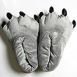 もこもこ!! 暖か アニマル 怪獣 スリッパ ルーム シューズ 爪付き ふわふわ 恐竜 フカフカ 室内 (グレー)