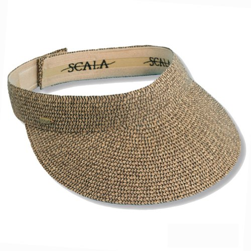 Scala Women's Paper Braid Sun Visor Hat