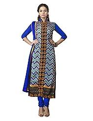 Prafful Beige Chanderi Cotton Embroidered Unstitched Dress Material - B015HBJ3ZO