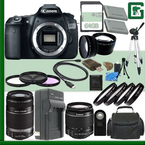 Canon Eos 60D Digital Slr Camera And Canon 18-55Mm Lens And Canon 55-250Mm Lens + 64Gb Green'S Camera Package 2
