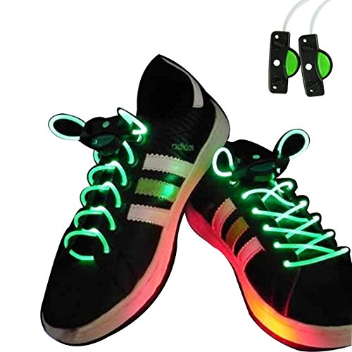 Voberry® Newest Hot Sale Fashion Led Light Up Flashing Shoelaces Necklaces Eyes-Catching Suitable For Parties, Hip-Hop, Dancing, Night Jogging(Green)