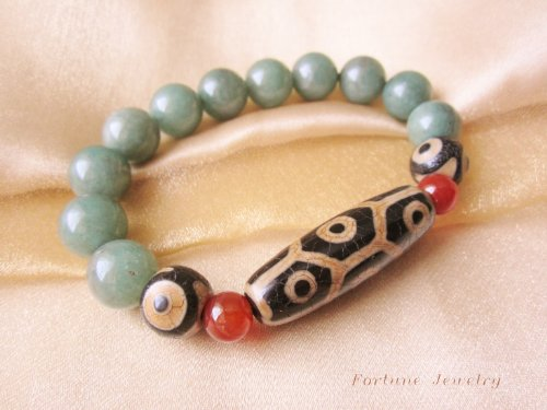 Longevity Antique Tibetan Turtle Back 9 Eyed Dzi Bead Bracelet with Twin 3 Eyed Beads and 12mm Green Old Jade Beads